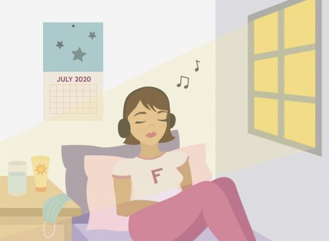 Illustration of girl listening to music in room