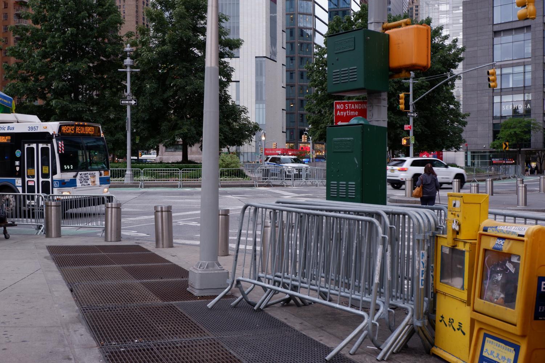 abandoned barricades at Columbus us circle
