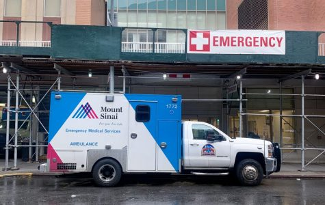 An ambulance in front of the ER