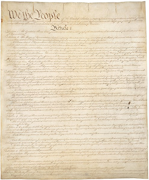 A copy of the Constitution of the United States