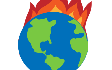 A graphic of the Earth on fire