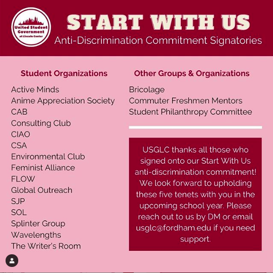 a list of the organizations who have committed to the USG anti-discrimination pledge