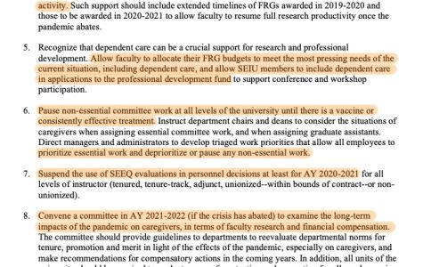 document with highlighted lines from faculty statement on caregivers