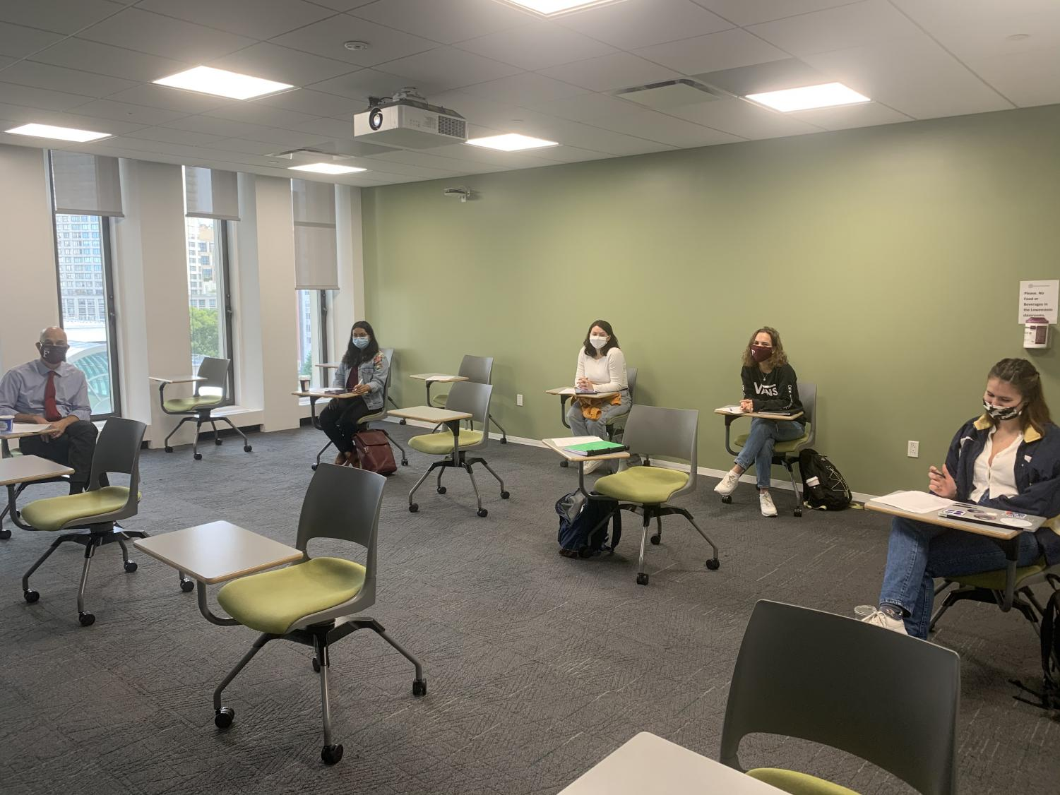 a classroom with students spread out at social distancing guidelines