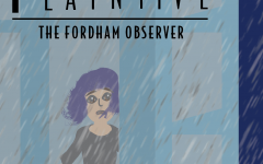 graphic of woman looking out window at rain with the words
