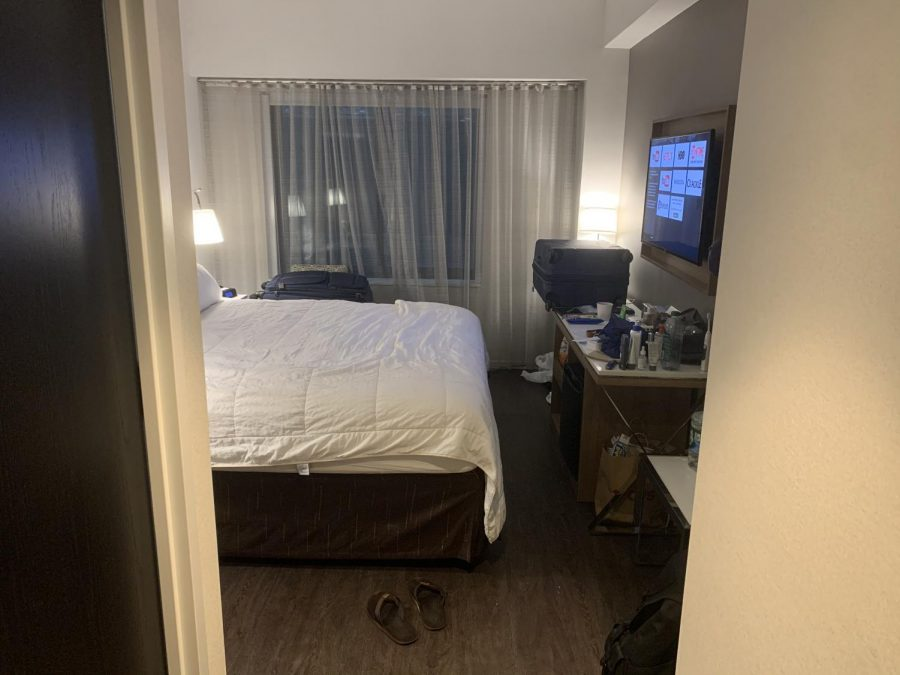 a New York hotel room used for quarantine