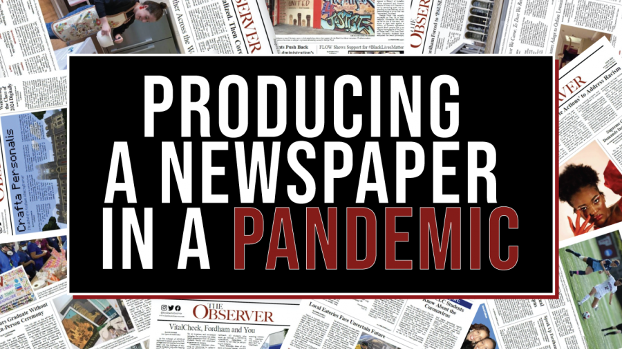graphic of newspapers with the words producing a newspaper in a pandemic on top
