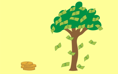 a graphic of a pile of coins representing childhood cancer on one side and a tree covered in money with the cash falling off representing adult cancer on the other side