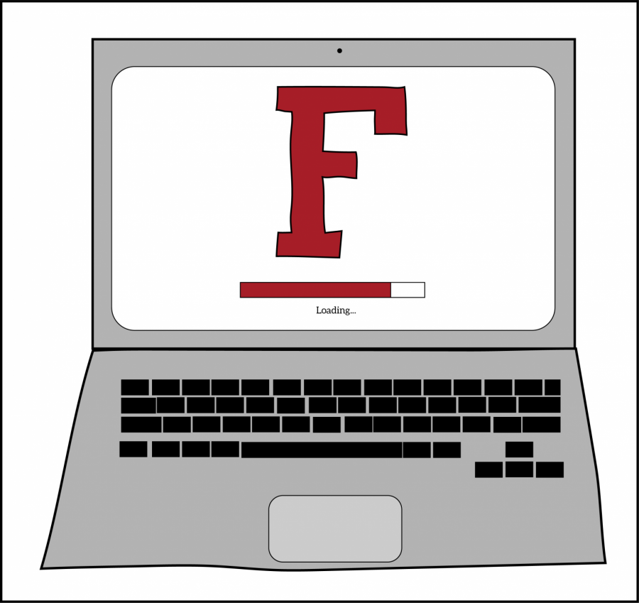 a graphic of a laptop that has on the screen a large maroon F and a loading bar underneath