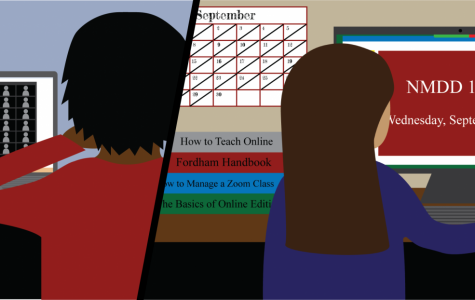 graphic of a student and a professor each sitting at a computer figuring out their online workload. student on left has zoom boxes and