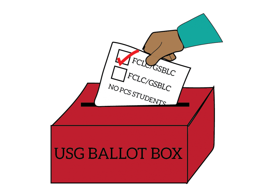 a graphic of a hand placing a ballot in a box labelled