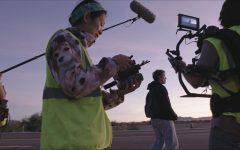 Crew of the Nomadland film at dusk