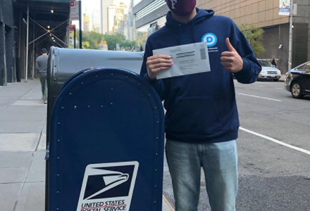 USG vice president, student Robert Sundstrom, drops ballot in mailbox for 2020 election