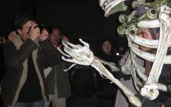 a person in a skeleton animal costume