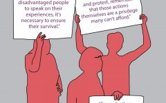 a graphic illustration of activists holding signs that read