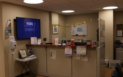 The reception desk of University Health Services, which oversees COVID-19 testing