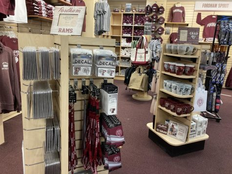 the inside of the Fordham Lincoln Center bookstore, where a freshman can buy merchandise