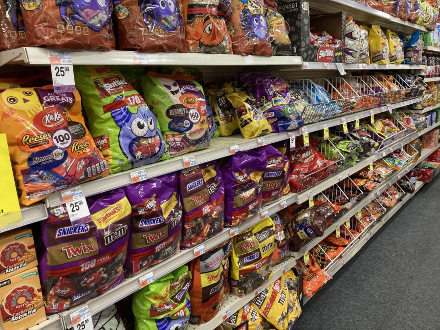 aisle of Halloween candy