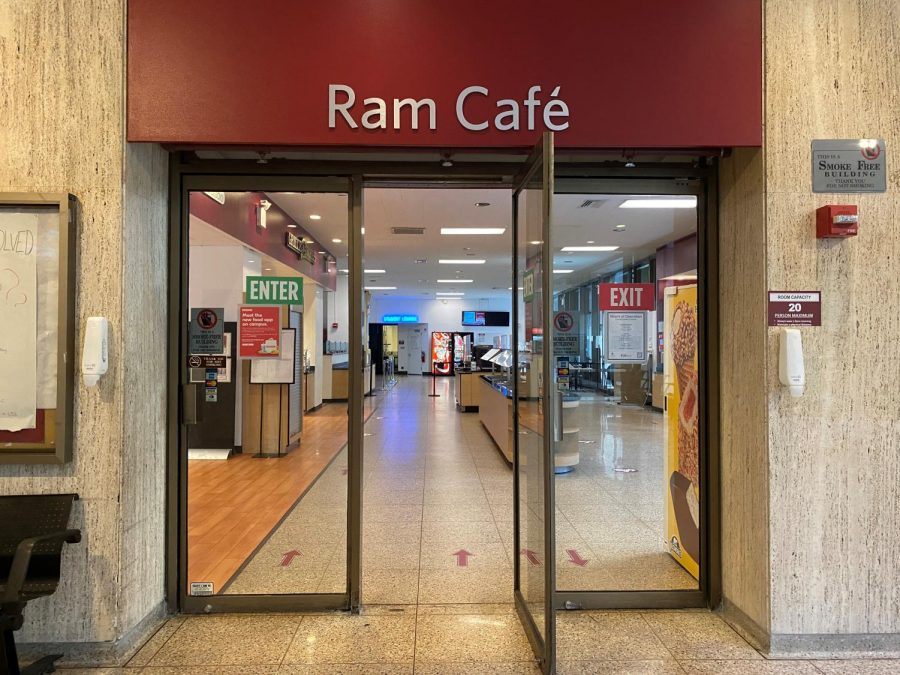 the doorway of the ram cafe dining location, with a red sign on top saying