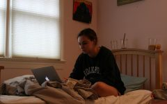 girl sitting on a bed looking at a laptop screen