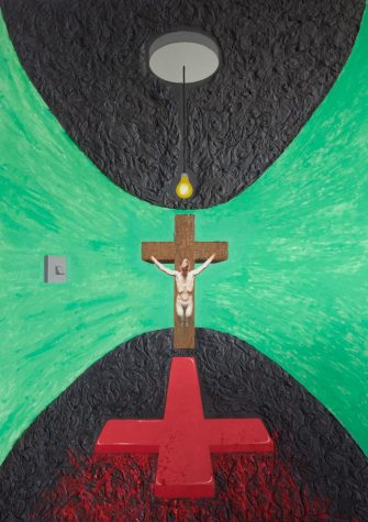 Drawing of person on cross over red cross with flames in a green-walled room with a black floor and celing