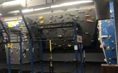 the indoor workout area of a rock gym