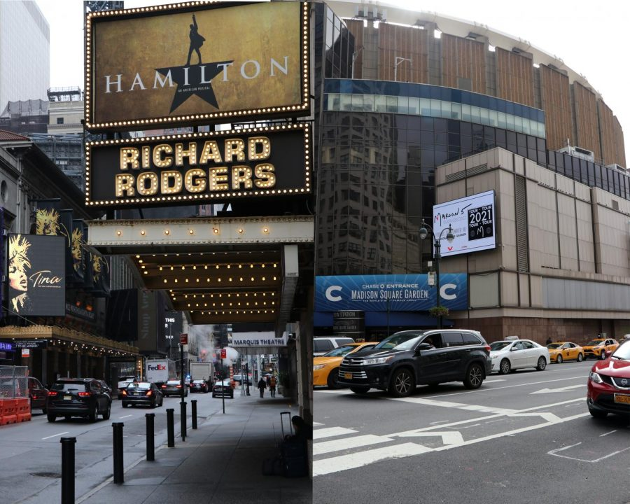 a photo of the hamilton marquee on broadway to represent arts , put side-by-side with madison square garden to represent sports