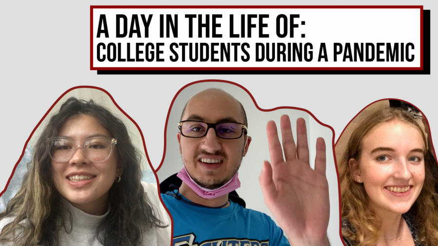 "collage of three students, two female and one male, with text above them that reads ""A day in the Life Of: College Students During a Pandemic"