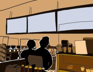 graphic illustration of the silhouettes of argo tea employees, grace and Jackie, behind the counter