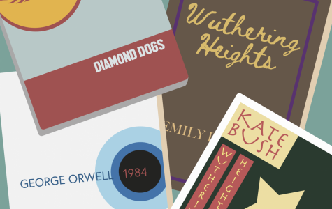 Illustration of literature and albums, including wuthering heights and the associated kate bush album, and 1984 and the david bowie album