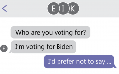 text message exchange that reads who are you voting for? im voting for biden and id prefer not to say... to show the reluctance of conservative students to discuss their beliefs