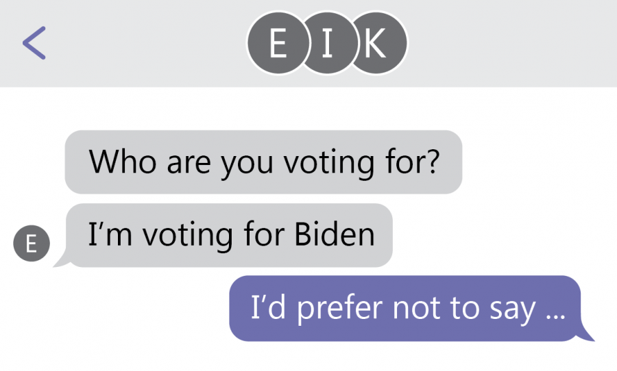"text message exchange that reads ""who are you voting for? i"