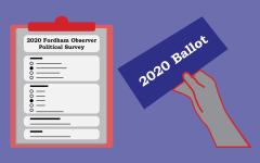 a graphic illustration of a survey and a 2020 ballot