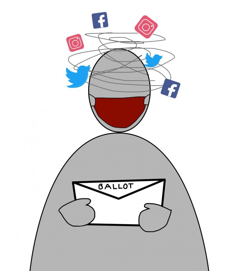 a graphic illustration of someone experiencing social media stress as they look at their ballot with social media icons spinning around their head