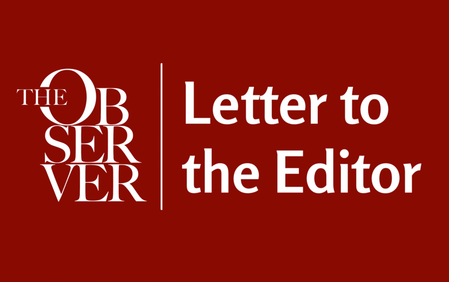 "observer logo with text reading ""letter to the editor"" on a maroon background"