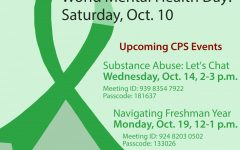 mental health day graphic with green ribbon and information about upcoming events