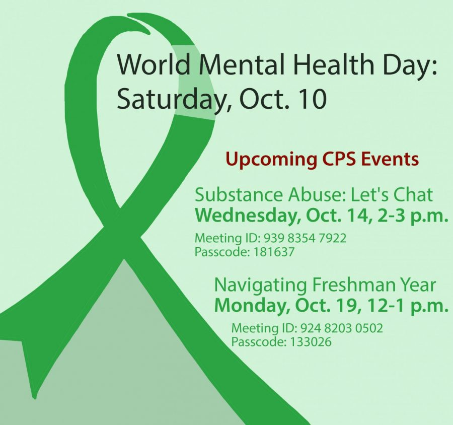 mental+health+day+graphic+with+green+ribbon+and+information+about+upcoming+events