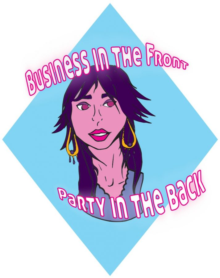 graphic of a person's head with a mullet hairdo on a blue diamond-shaped background, with text reading