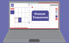 graphic of a calendar on a laptop screen with a