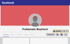 graphic of person unfriending someone named