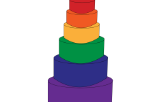 rainbow colored wedding cake with two men on top to symbolize the LGBTQ+ community's right to marry