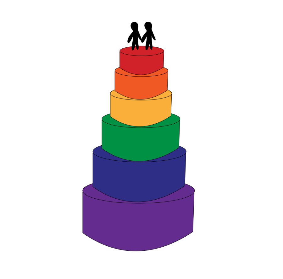 rainbow colored wedding cake with two men on top to symbolize the LGBTQ+ community