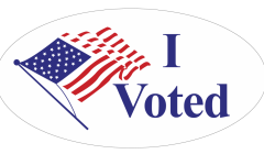 I Voted Sticker with American flag on the left