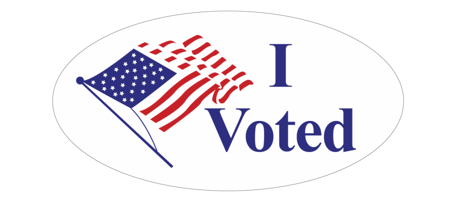 """I Voted"" Sticker with American flag on the left"
