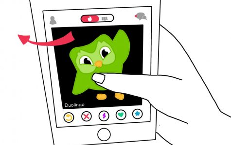 a graphic illustration depicting a hand holding a phone displaying Tinder. The profile on the screen is the Duolingo owl and the finger is swiping to the left.