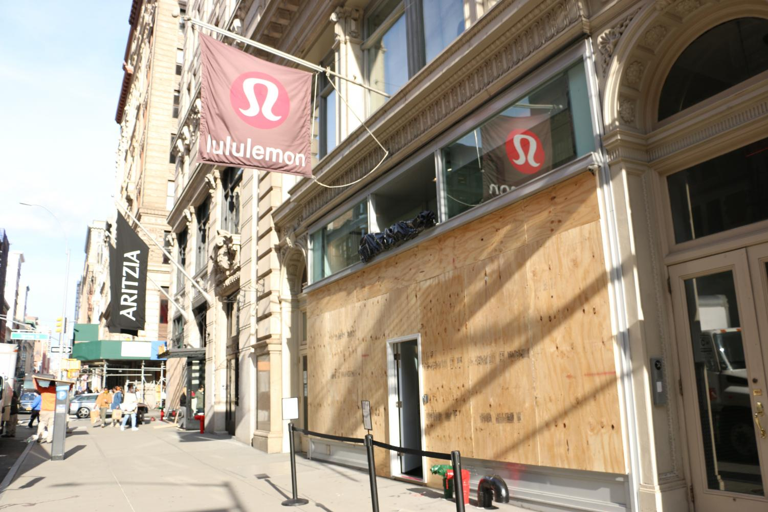 the Lululemon store boarded up