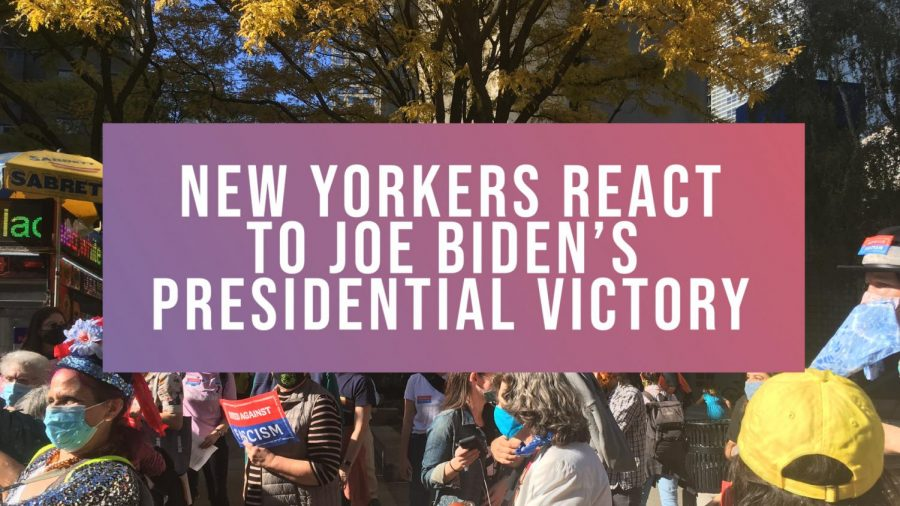 """photo of joe biden victory rally with text that says """"new yorkers react to joe biden"""