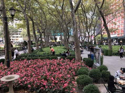 pink flowers and people in bryant park, one of the city's smaller green spaces