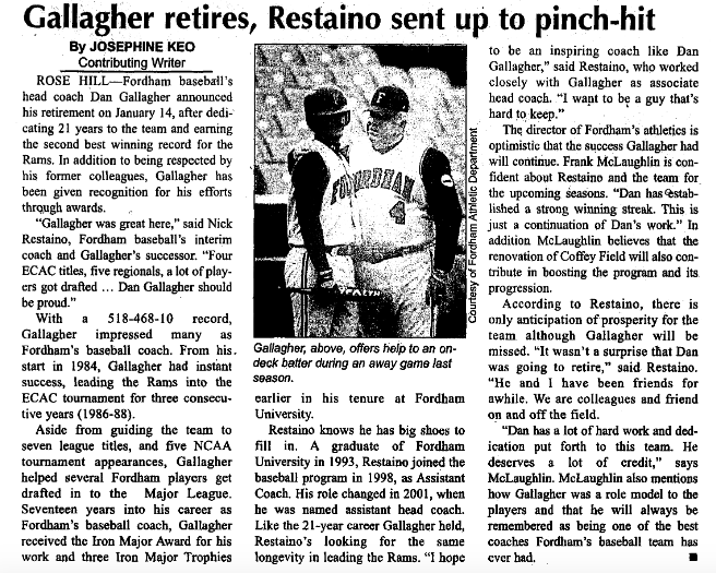 a newspaper clipping from when Skip Gallagher retired reading
