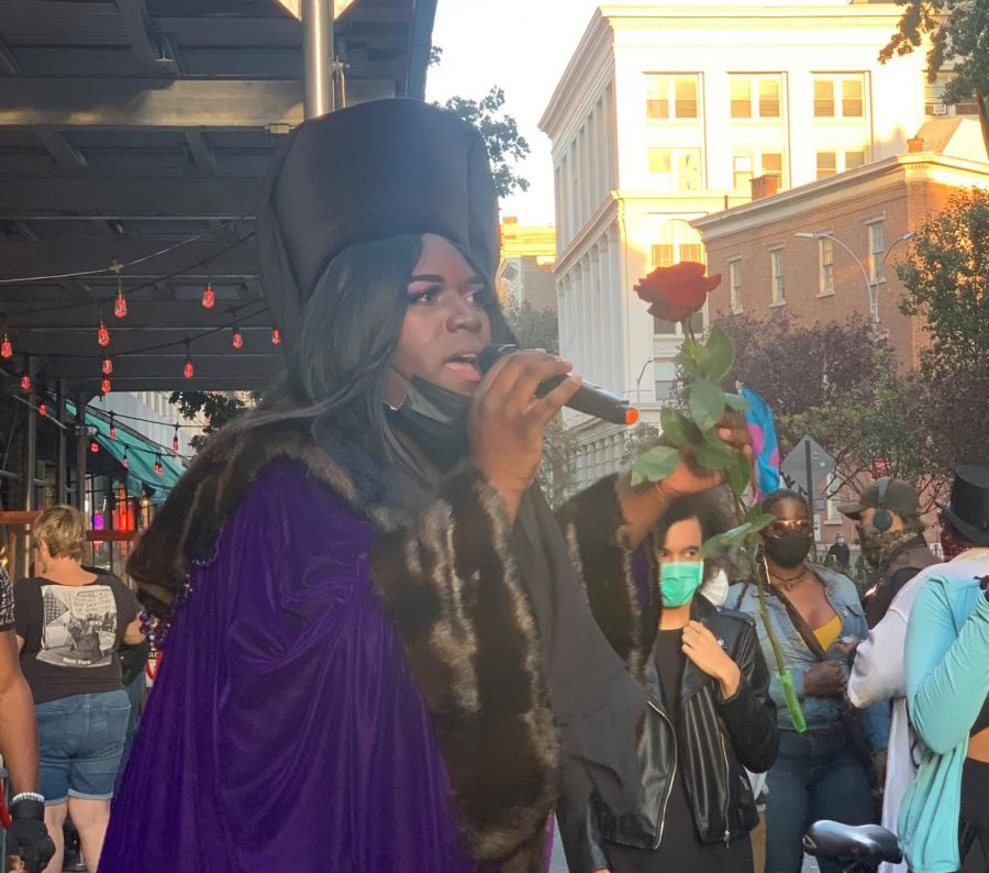 Qween+Jean%2C+activist+and+co-organizer+of+the+Stonewall+protests%2C+speaks+at+one+of+the+events.+These+protests+are+led+by+a+group+of+Black+trans+women+and+focus+on+Black+liberation.